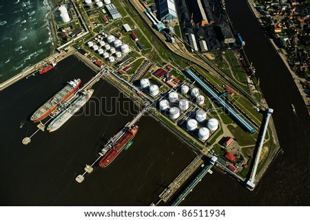 aerial view over Ventspils industrial port