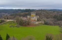 aerial view Pambre Castle in Palas de Rei Lugo