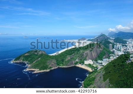 Aerial view panorama landscape sea of Copacabana beach in Rio de Janeiro - stock photo