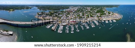 Aerial view panorama of Beverly Port Marina and Essex Bridge at Sandy Point in city of Beverly, Massachusetts MA, USA.  Stockfoto ©