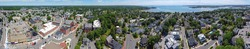Aerial view panorama of Historic buildings on Cabot Street in historic city center of Beverly, Massachusetts MA, USA.