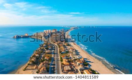 Aerial view. Panoramic view of streets, roads and buildings foreland La Manga del Mar Menor, Cartagena, Murcia, Spain Foto stock ©