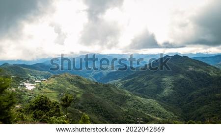 Aerial view Pekan Nabalu and Gunung Nungkok Zdjęcia stock ©