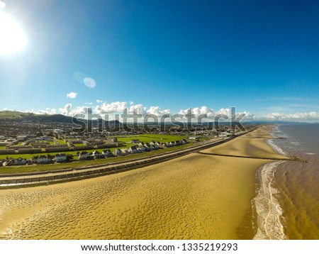 Aerial view, photography of the famous Welsh holiday destination Prestatyn near Rhyl and Southport, Glorious beaches and safe family holidays by the seaside in Wales (SHOT at ISO 100)