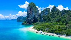 Aerial view Phra Nang Cave Beach with traditional long tail boat on Ao Phra Nang Beach, Ecosystem and healthy environment concepts and background, Railay Bay, Krabi, Thailand.