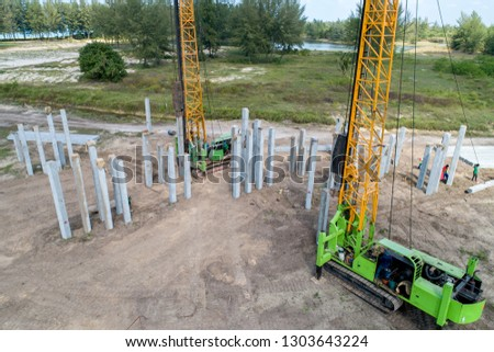 Aerial view piling rig work at construction site for commercial photo
