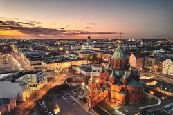 aerial view, Presidential Palace and Uspenski Cathedral, Helsinki Finland