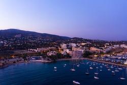 Aerial view, Puerto Portals luxury marina, Platja de s' Oratori beach and Illa d'en Sales, Portals Nous, Mallorca, Balearic Islands, Spain