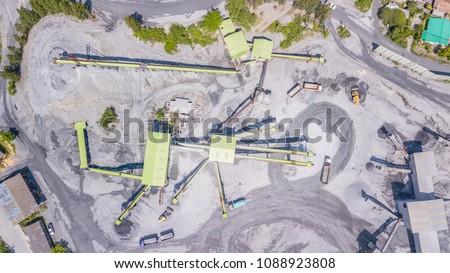 Aerial view  Quarry Industrial crusher rock stone crushing machine