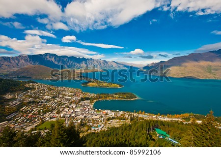 aerial view Queenstown downtown skyscraper - stock photo