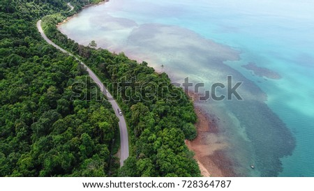 Aerial view  road on sea shore island #728364787