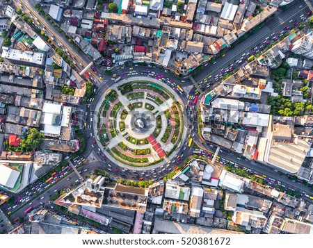 aerial view road roundabout...