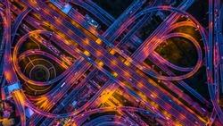 Aerial view road traffic in Bangkok City at night, Bangkok, Thailand.