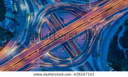 Aerial view roundabout interchange of a city, Expressway is an important infrastructure. ストックフォト ©