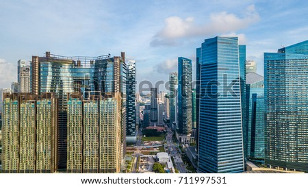 Aerial view shot from drone landscape of Singapore City financial district and business building, Singapore.
