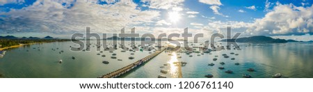 aerial view sunrise above Chalong gulf. Chalong marina is a center for intense boating activity.  #1206761140