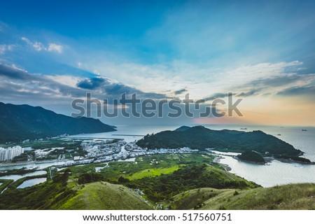 Aerial view sunset of Fishing Village at Tai o in Hong Kong