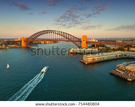 aerial view sydney harbour and...