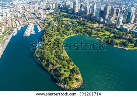Aerial view Sydney Royal Botanic Gardens. View on Sydney harbourside suburbs from above. Aerial view on Sydney harbourside, Sydney CBD, Sydney Royal Botanic Gardens