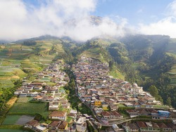 Aerial View The Beauty Of Building Houses In The Countryside Of The Mountainside In Clear Condition Weather. Nepal van Java Is A Rural Tour On The Slopes Of Mount Sumbing, Central Java.