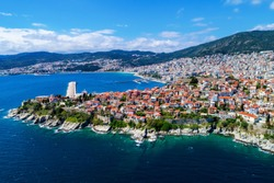 Aerial view the city of Kavala in northern Greece