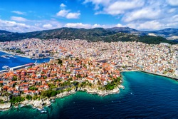 Aerial view the city of Kavala in northern Greek