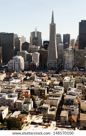 Aerial view the crowed skyline of San Francisco from the north side of the bay