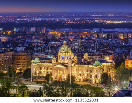 Aerial view the House of the National Assembly of the Republic of Serbia and Danube river by night #1103522831