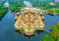 Aerial view the Pavilion of the Enlightenment in Ancient city Samut Prakan of Thailand