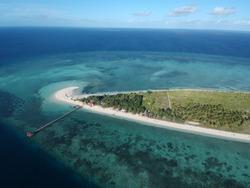 Aerial view, Tinabo Islands (Taka Bonerate), Sulawesi, Indonesia.