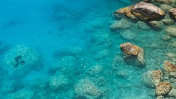 Aerial view to  clear blue green sea  with rocks, beautiful nature background