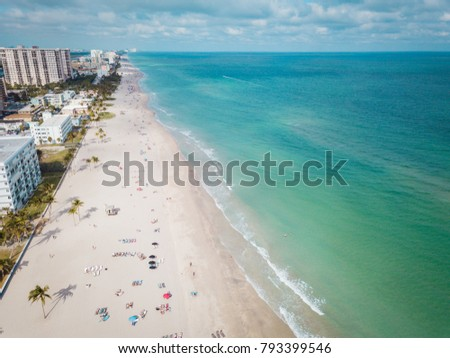 Aerial view to Hollywood beach, Fl #793399546