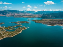 aerial view to mountains and dillon reservoir, colorado, usa