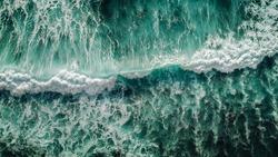 Aerial view to ocean waves