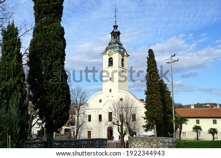 Aerial view to Shrine of Our Lady in the Trsat famous pilgirmate with church of Our Lady of Trsat Sanctuary, the oldest sanctuary dedicated to the Virgin Mary in Croatia Stockfoto ©