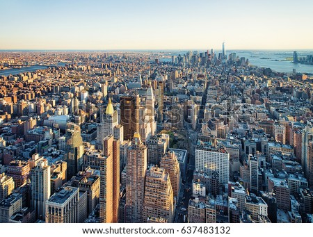 Aerial view to Skyline with Skyscrapers in Downtown Manhattan and Lower Manhattan, New York City, USA. #637483132
