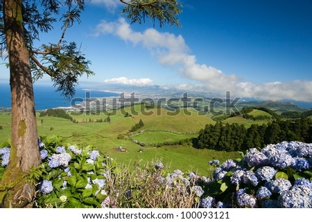 Aerial view to the city and valley, San Miguel island, Azores