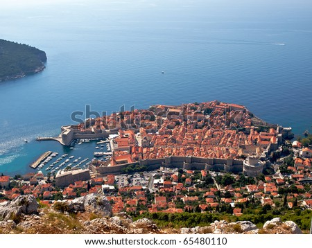 Aerial view to the Dubrovnik town in Croatia