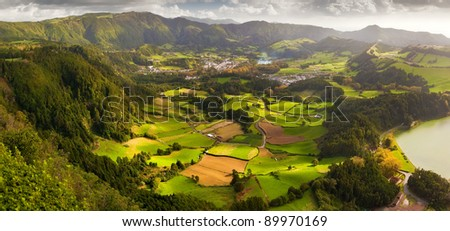 Aerial view to the Furnas city and valley, San Miguel island, Azores