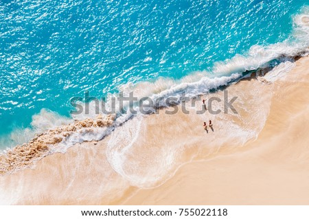 Aerial view to tropical sandy beach and blue ocean #755022118