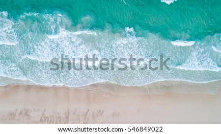 Aerial view. Top view.amazing nature background.The color of the water and beautifully bright.Azure beach with rocky mountains and clear water of Thailand ocean at sunny day. #546849022