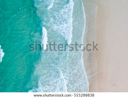 Aerial view. Top view.amazing nature background.The color of the water and beautifully bright.Azure beach with rocky mountains and clear water of Thailand ocean at sunny day. #555288838