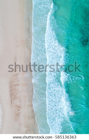Aerial view. Top view.amazing nature background.The color of the water and beautifully bright.Azure beach with rocky mountains and clear water of Thailand ocean at sunny day. #585136363