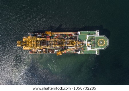 Aerial view / Top view of a offshore vessel or barge. The vessel is to support and assist #1358732285