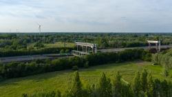 Aerial view towards the Tijsluis locks on the Dender river, in Dendermonde, Belgium