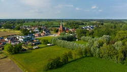 Aerial view towards the village of Puivelde, in East Flanders,  Belgium