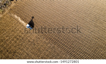 Aerial view. Tractor preparing soil for planting crops. Furrows row pattern in a crop field. #1491272801