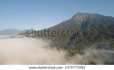 aerial view tropical forest covered clouds with lush vegetation and mountains, java island. tropical landscape, rainforest in mountainous area Indonesia. green, lush vegetation.
