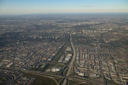 Aerial view west from intersection of highway 407 and 400 north Toronto and Vaughan