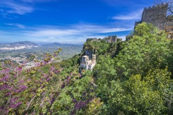 Aerial view with Pepoli Turret and Venus Castle in Erice historic town on a Mount Erice, Sicily Island in Italy